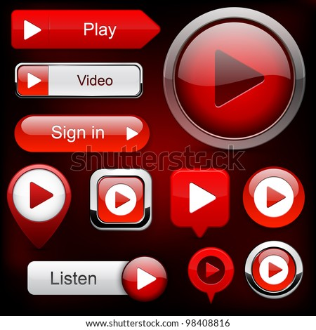 Play red web buttons for website or app. Vector eps10. - stock vector