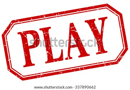 play square red grunge vintage isolated label