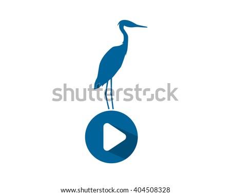 play stork heron crane egret silhouette stock vector 404508328