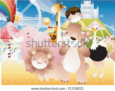Play Time - enjoying leisure with a cute young boy and funny animal friends in the amusement park on joyful holiday on background with beautiful, bright blue sky and yellow field : vector illustration - stock vector