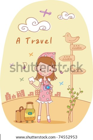 Play Time with Cute Friends - happy smiling young girl with camera and traveling bag on romantic street of destination background with beautiful brown sky at sunset - stock vector