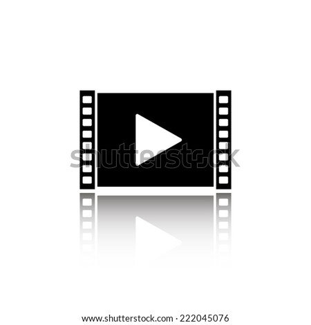 Play video icon - black vector illustration with reflection - stock vector