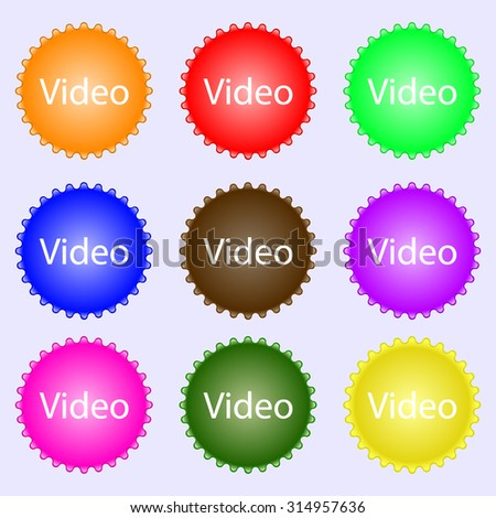 Play video sign icon. Player navigation symbol. A set of nine different colored labels. Vector illustration