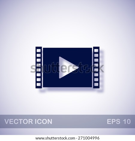 Play video vector icon - dark blue illustration with blue shadow - stock vector