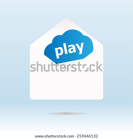 play word on blue cloud on open envelope - stock vector