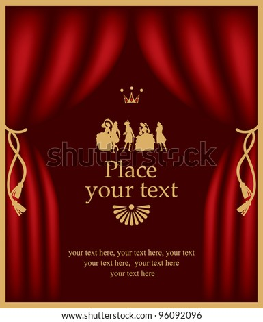 playbill with actors in baroque costumes - stock vector