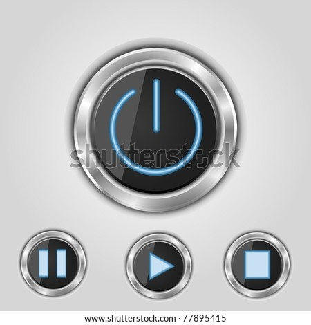 player buttons black vector