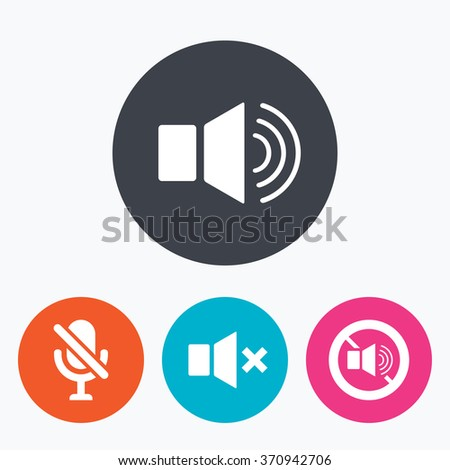 Player control icons. Sound, microphone and mute speaker signs. No sound symbol. Circle flat buttons with icon. - stock vector