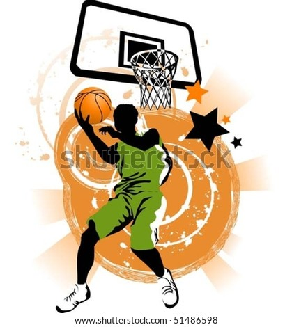 player in basketball at the background of basketball rings (vector);
