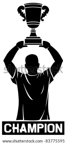 Player lifting trophy (Champion) - stock vector