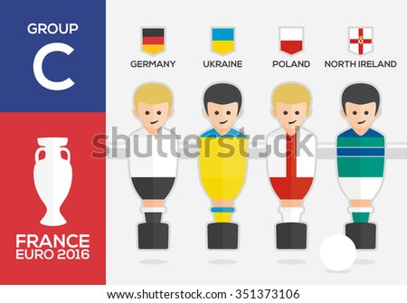 Players with flags of european countries participating GROUP C of Euro 2016 football championship in France - stock vector