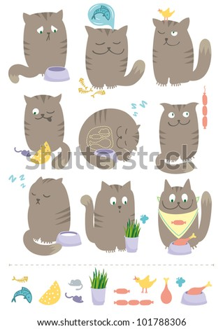 Playful Cats With Foods - stock vector