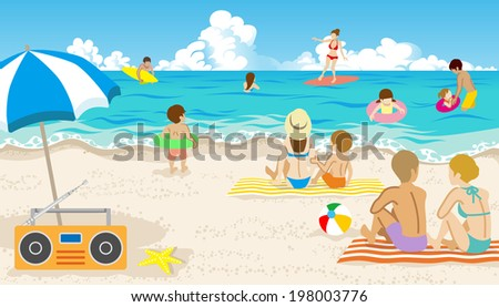 Playful people in Summer beach - stock vector
