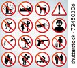 Playful Prohibited and Alerting Signs vector collection for your design and text - stock vector