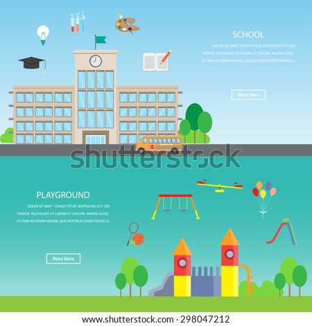 playground and school. infographics element and banner background. kid and children concept. Can be used for one web page design, brochure template, banner. Vector illustration - stock vector