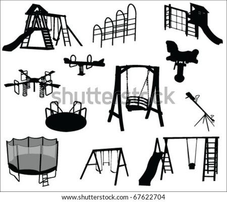 playground equipments vector - stock vector