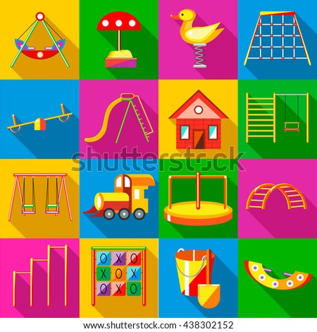 Playground icons set, flat style - stock vector