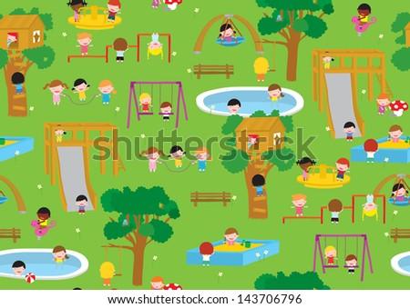 Playground illustration seamless vector pattern - stock vector
