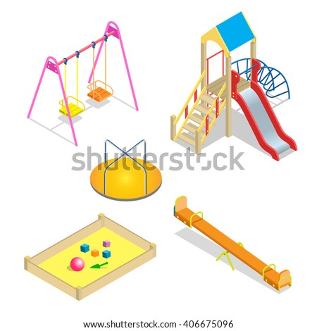 Playground, Playground slide theme element, Playground Flat, Playground 3d, Playground isometric, Playground icon, Playground isolated,  kids playground,  Playground park,  school playground - stock vector