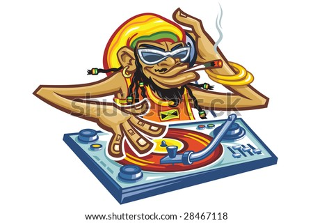 Playing a record and smoking   cigarette a cartoon comic Dj monkey with glasses and jamaica hat - stock vector