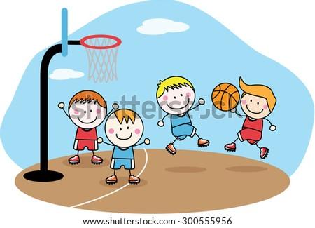 playing basket ball - stock vector