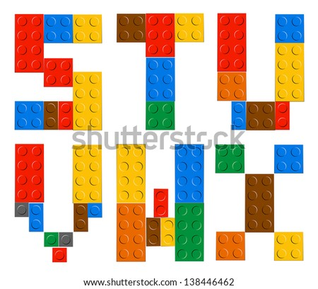 Playing brick toy alphabet letters (S,T,U,V,W,X) - stock vector