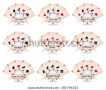 playing card. poker and casino. poker hands rankings.  - stock vector