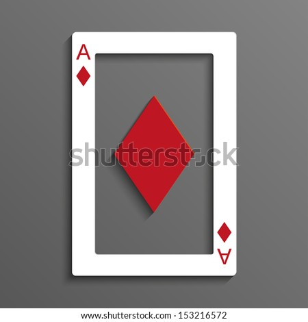 Playing card rustrakehner color ace of diamonds - stock vector