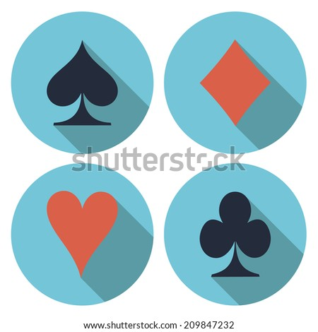 Playing card's flat vector on a white background - stock vector
