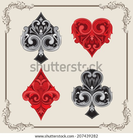 Playing Card Vintage Ornamental - stock vector