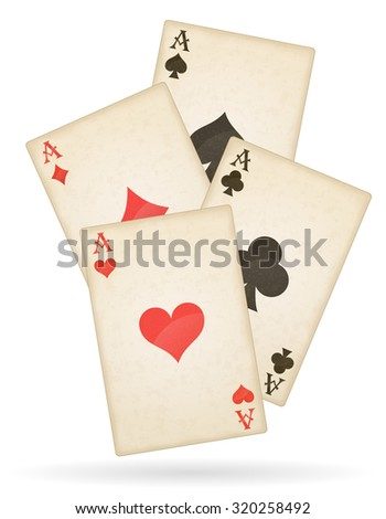 playing cards aces of different suits old retro vector illustration isolated on white background - stock vector