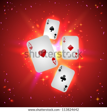 Playing cards (aces) with shiny particles on red background - vector illustration. - stock vector