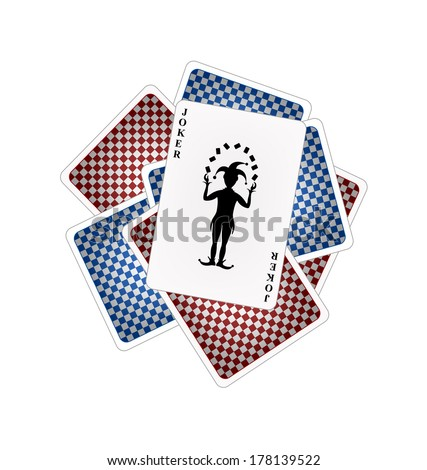 Playing cards and joker - stock vector