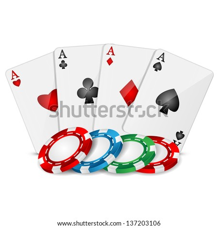 playing cards and poker chips on a white background - stock vector