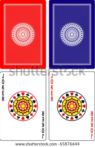 playing cards back side and jokers 60x90 mm - stock vector