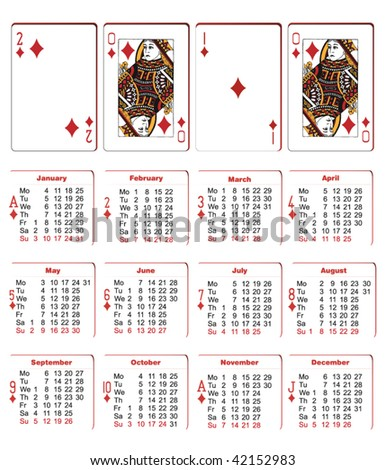 playing cards calendar