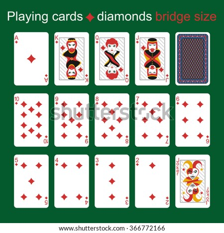 Playing cards. Diamonds. Bridge size - stock vector