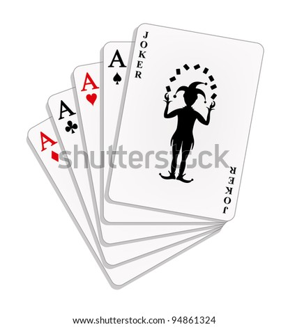 Playing cards - four aces and a joker - stock vector