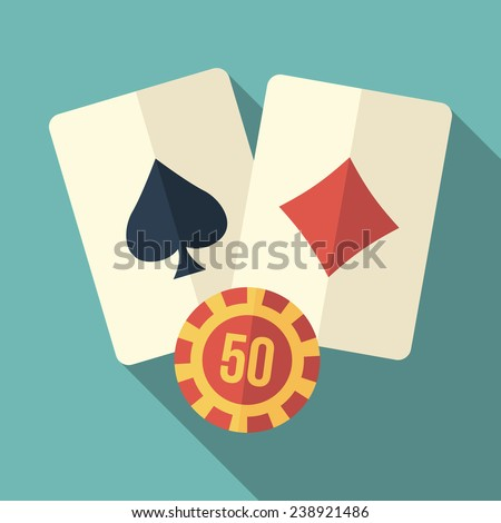 playing cards icon with long shadow - stock vector