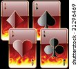 playing cards in fire - stock photo