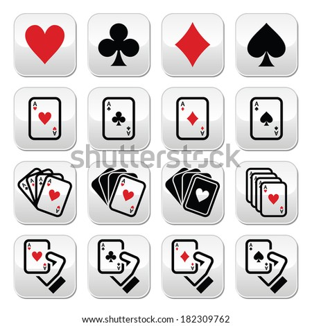 Playing cards, poker, gambling buttons set - stock vector