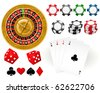 Playing cards, Roulette Wheel and gambling chips - stock vector