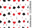 Playing cards seamless background pattern. Vector illustration. - stock vector