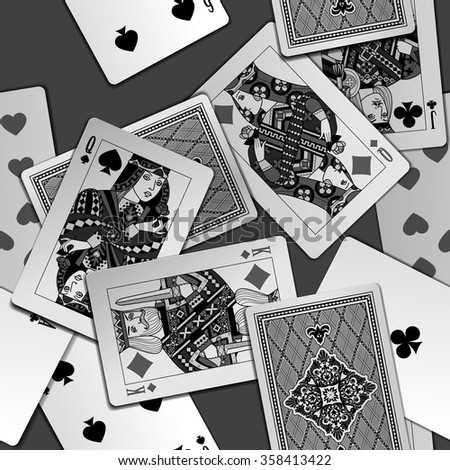 Playing cards seamless pattern background in black and white colors. Original design. Vector illustration - stock vector