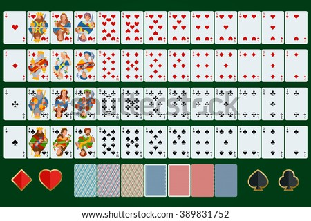Playing cards set. Poker cards full set. Flat design. Poker set with isolated cards on green background. Poker cards set art. Playing cards set web. Playing cards set new. Poker cards. - stock vector