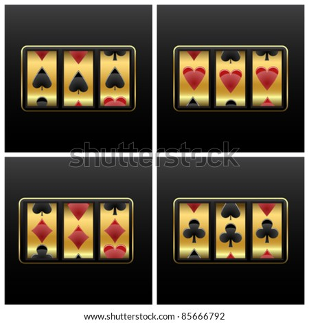 playing cards slot machine against white background, abstract vector art illustration - stock vector