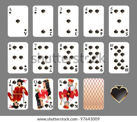 Playing cards - spade suit highly detailed vector illustration. EPS 10 - contains transparences!
