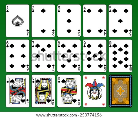 Playing cards, spades suite, joker and back. Green background. - stock vector