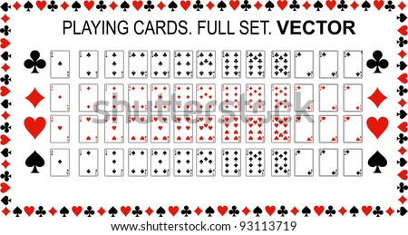 Playing cards Vector. Full set. - stock vector