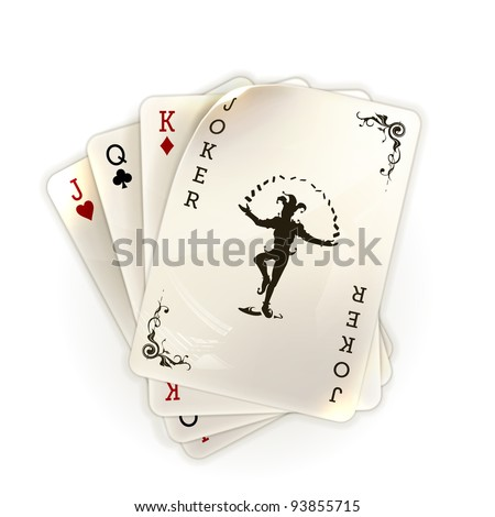 Playing cards with a joker, 10eps - stock vector